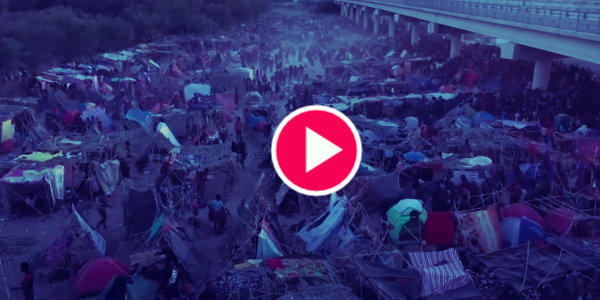 Drone shows thousands at makeshift U.S. border camp…