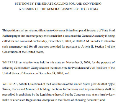 PETITION BY THE SENATE